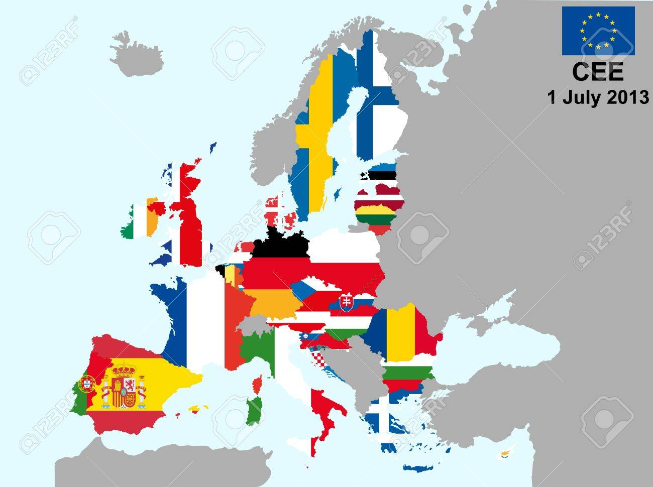 illustration of european union map with flags, from 1 july 2013 Stock Vector - 13066712
