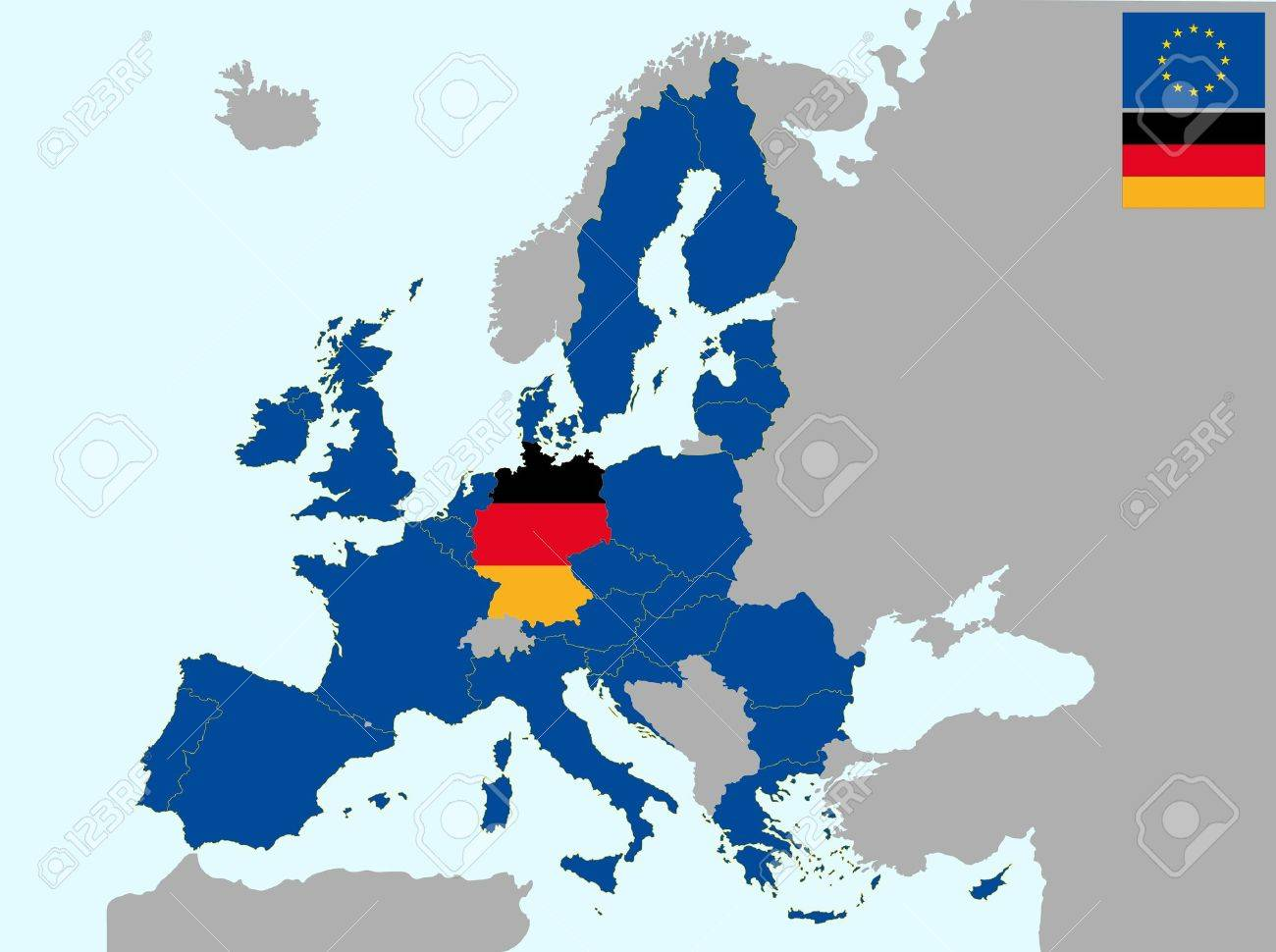 Illustration Of Europe Map With Flag Of Germany From 1 July