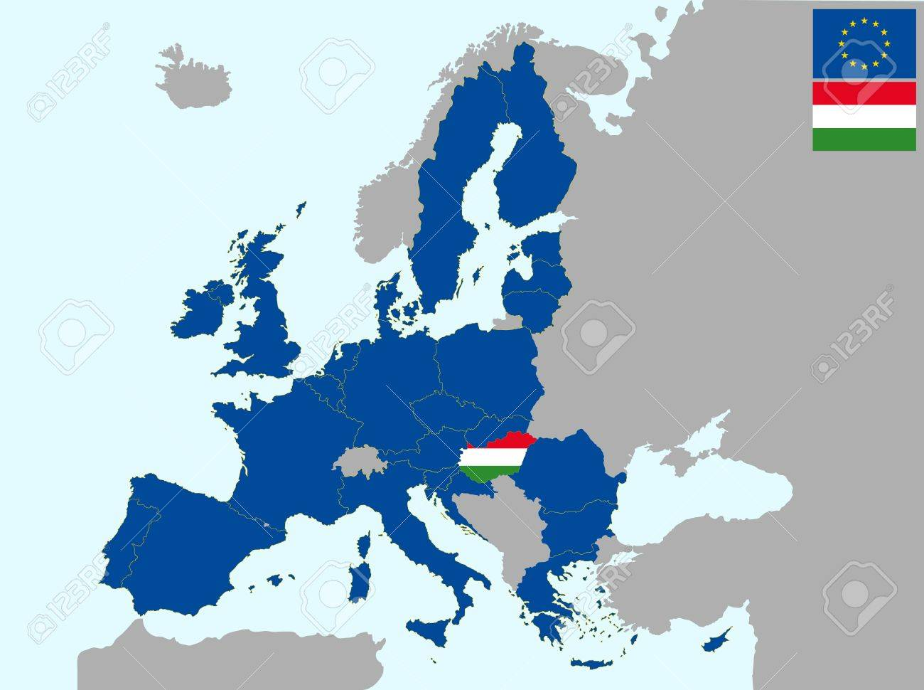 Picture of: Illustration Of Europe Map With Flag Of Hungary From 1 July Royalty Free Cliparts Vectors And Stock Illustration Image 13066685
