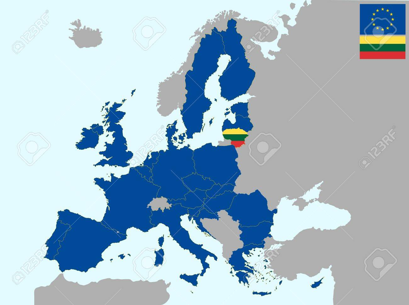 Lithuania On Europe Map.Illustration Of Europe Map With Flag Of Lithuania From 1 July