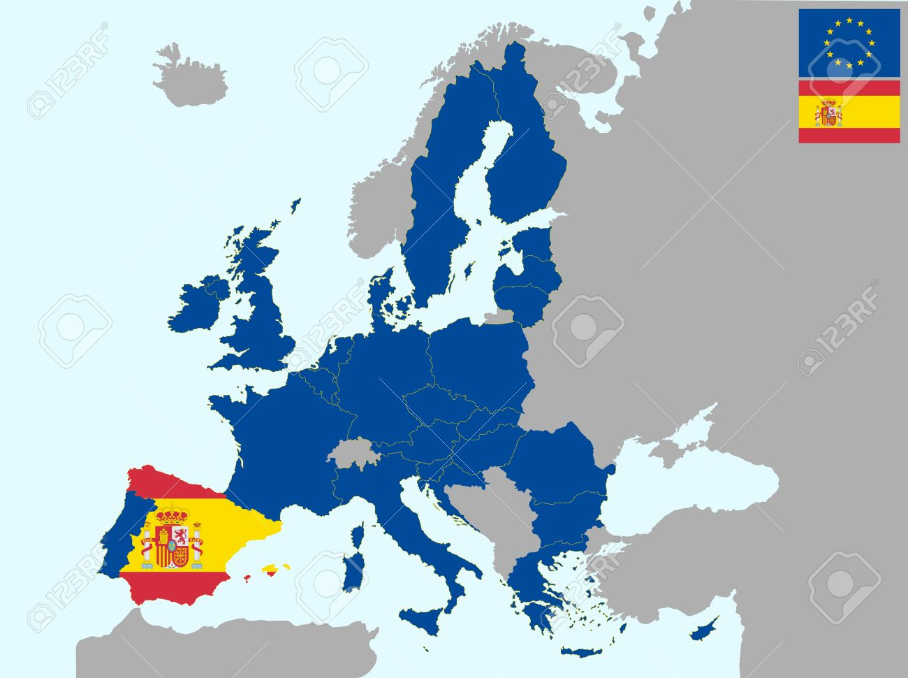 Spain Map Of Europe.Illustration Of Europe Map With Flag Of Spain From 1 July 2013