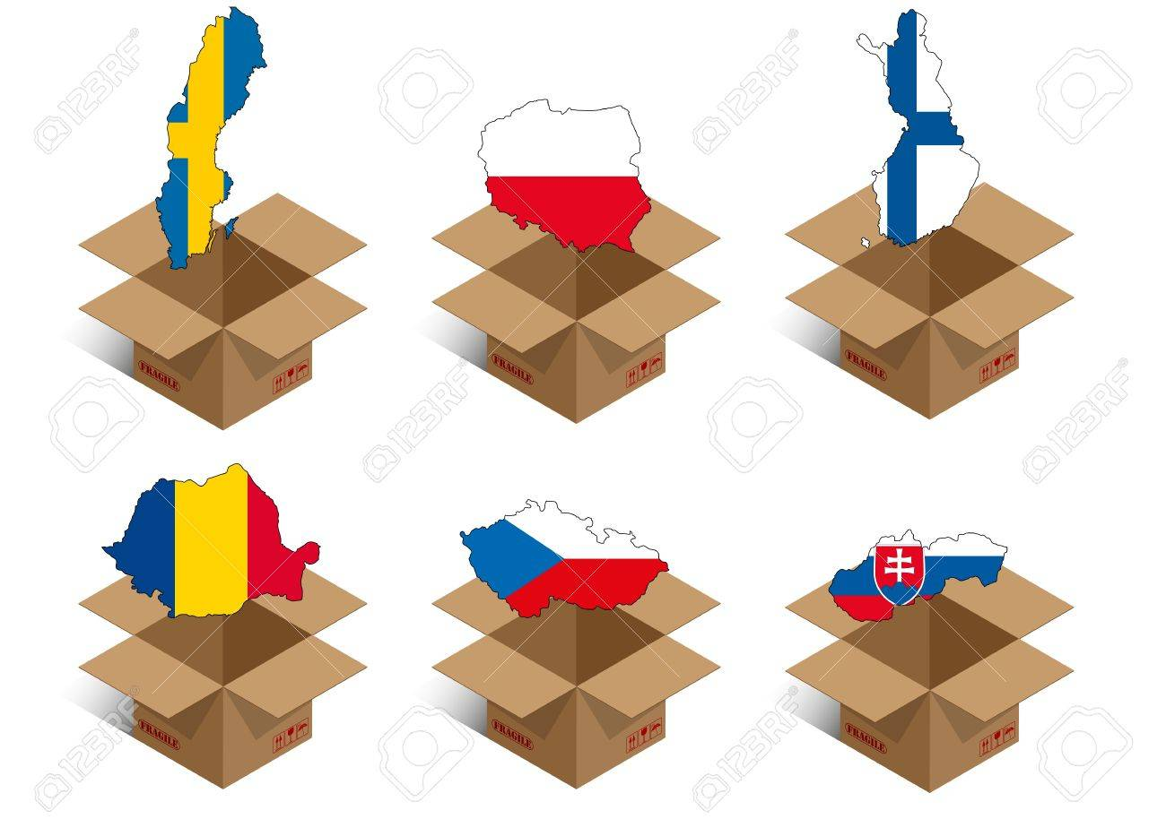 set illustration of box with shape of nations Stock Vector - 13066715