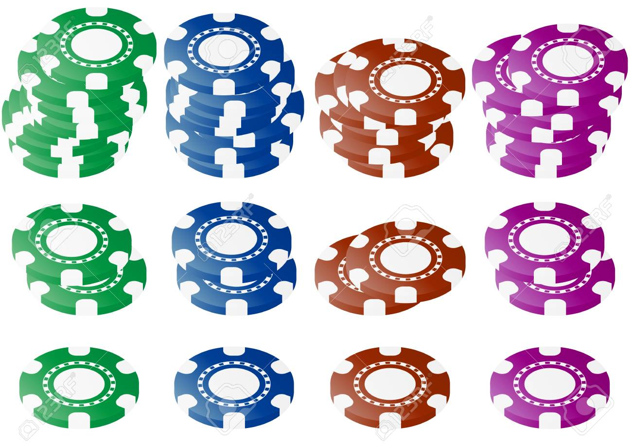 illustration set of chips in four colors Stock Vector - 13433930