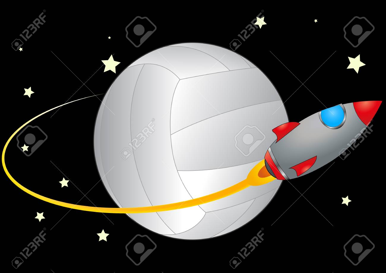 illustration of spacecraft that orbits a volleyball Stock Vector - 13943476