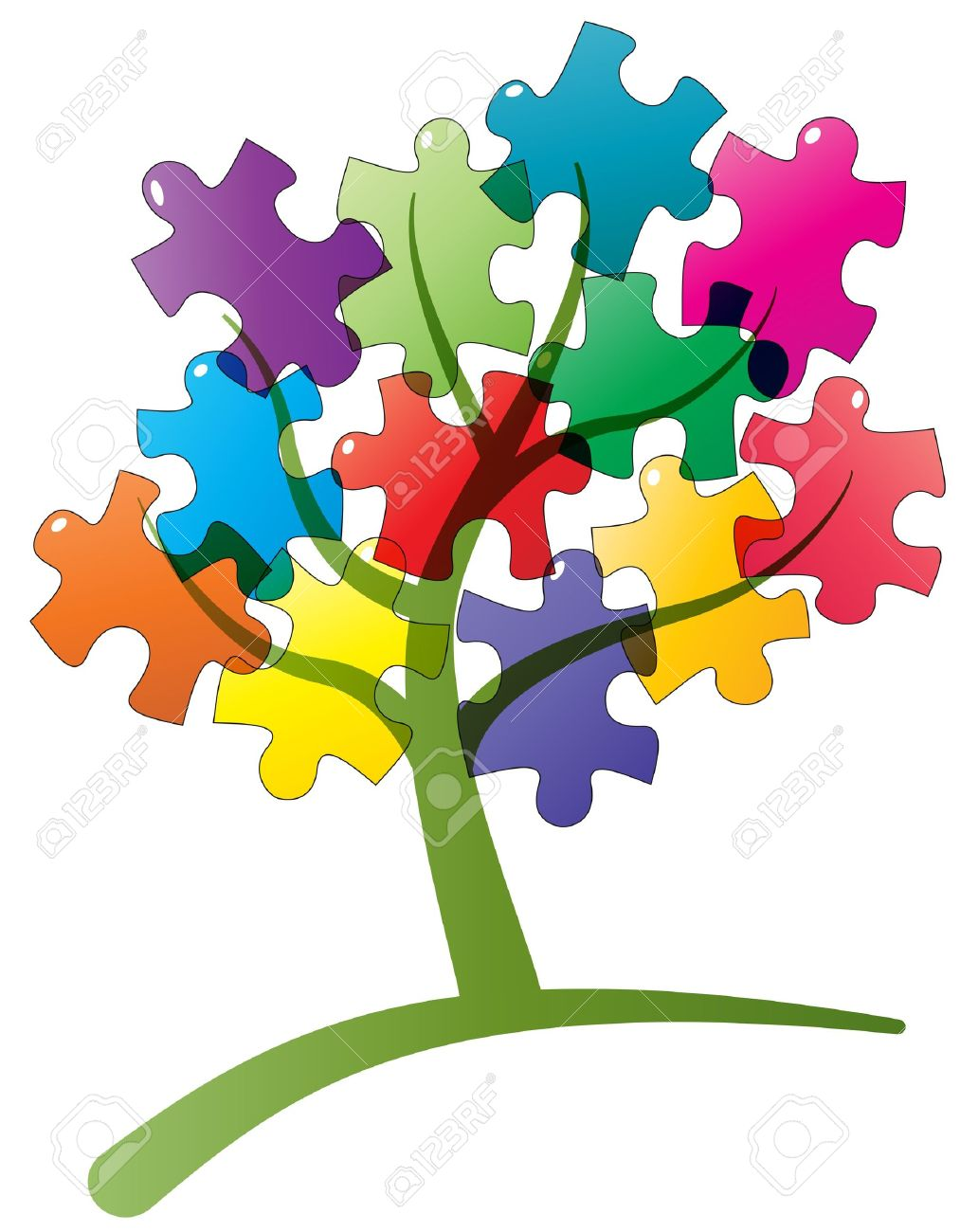 illustration of tree with puzzle pieces Stock Vector - 13980349