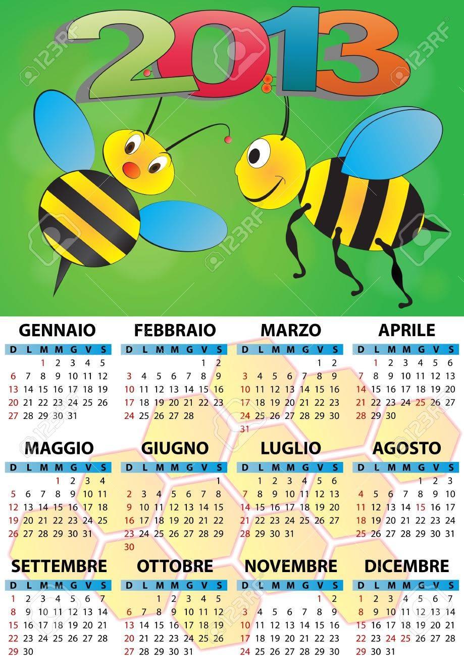 illustration of 2013 calendar for children in italian Stock Vector - 14177098