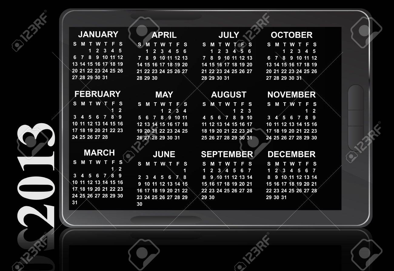 illustration of 2013 electronic calendar Stock Vector - 14177066