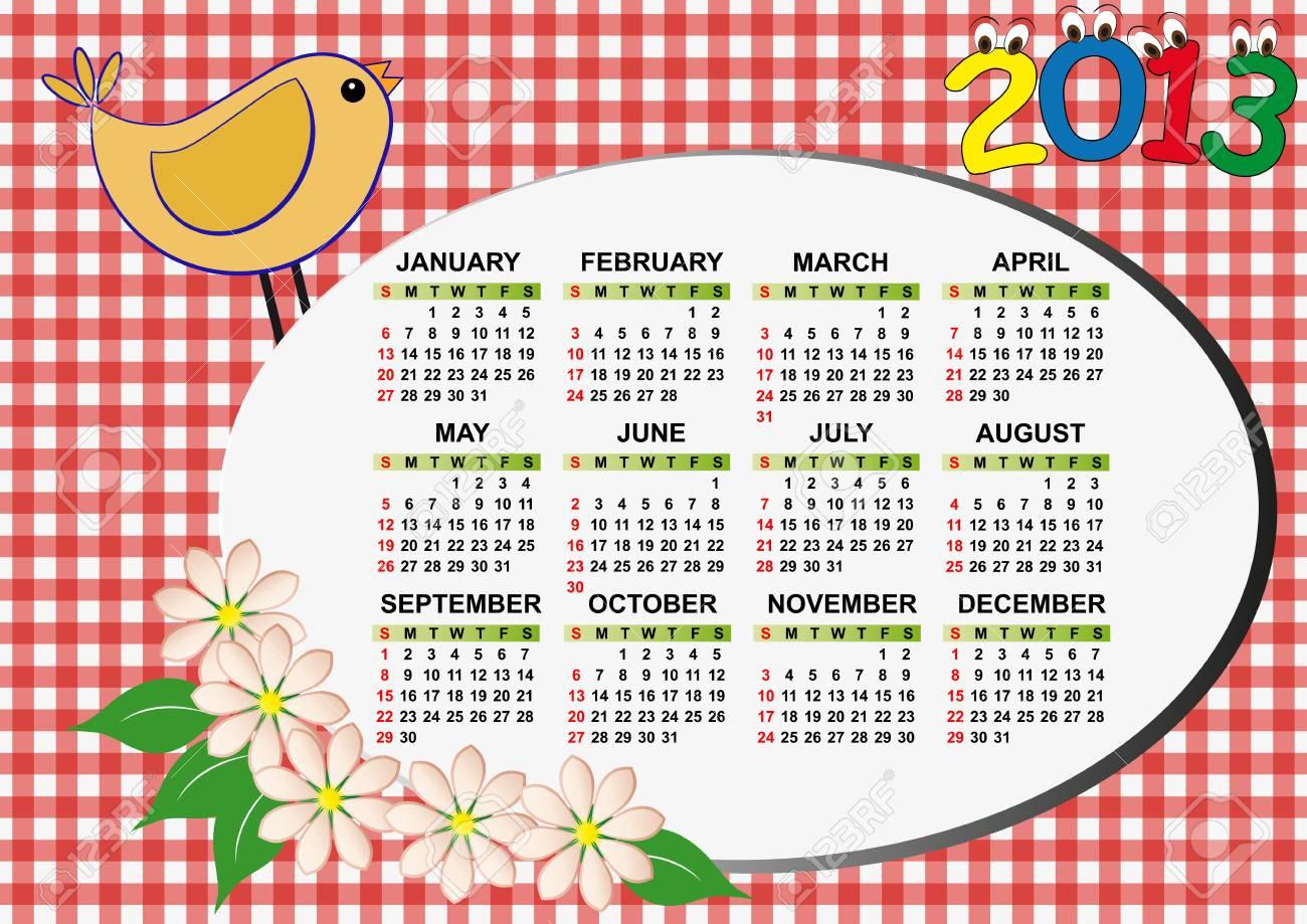 2013 bird and flower calendar for children Stock Vector - 14381795