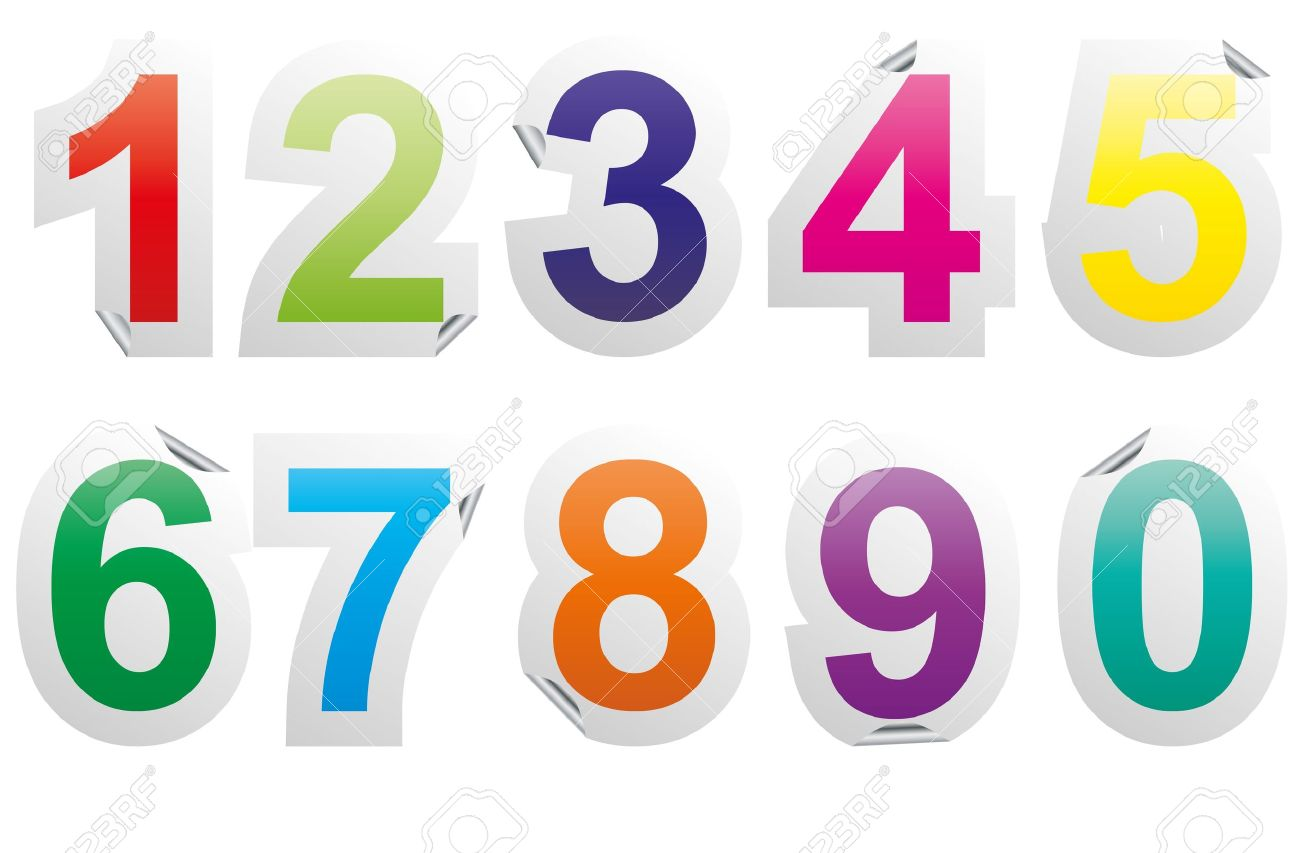 Illustration set of colorful numbers sticker stock vector 14634913