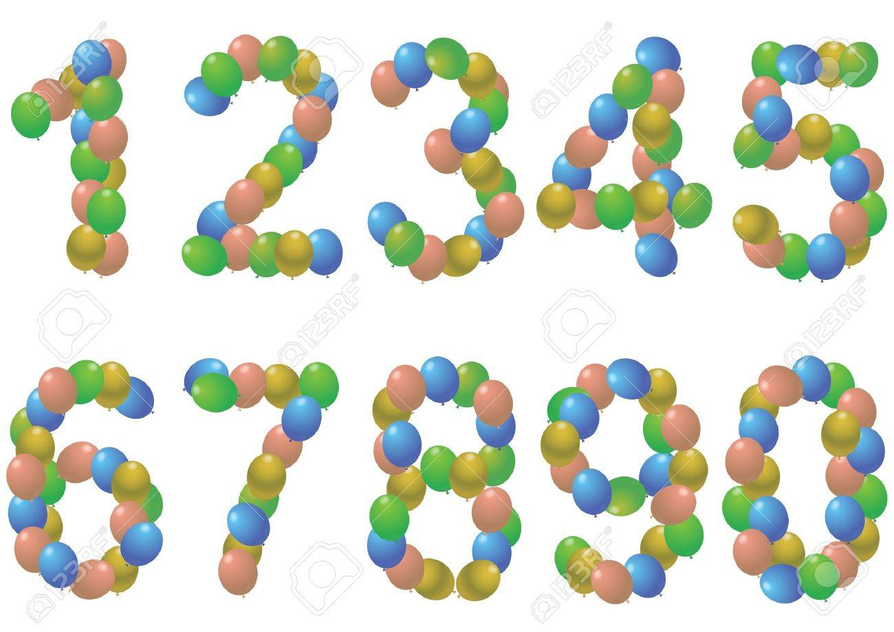 illustration set of colorful balloons numbers Stock Vector - 14634902