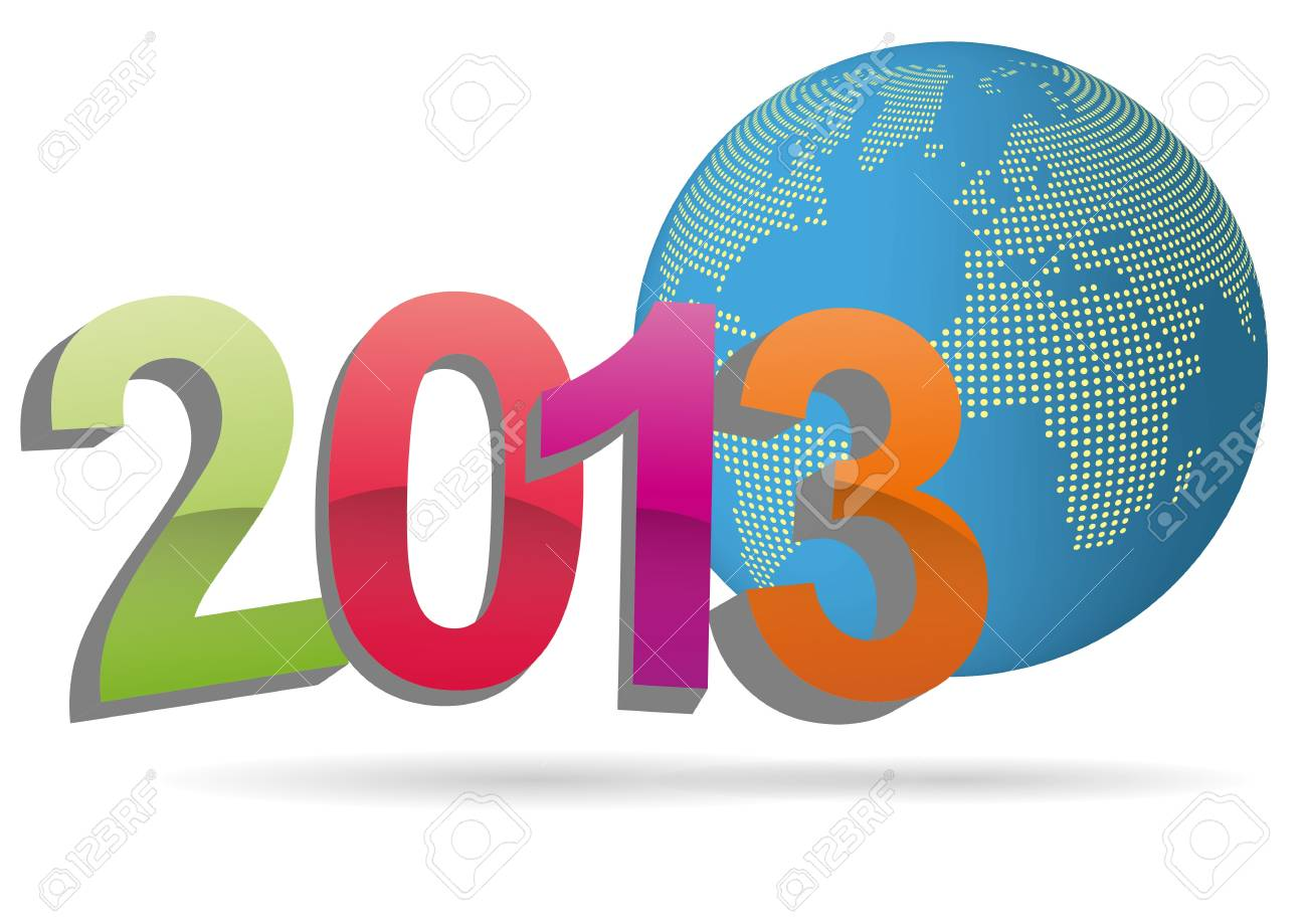 illustration of 2013 text with world in background Stock Vector - 15219513