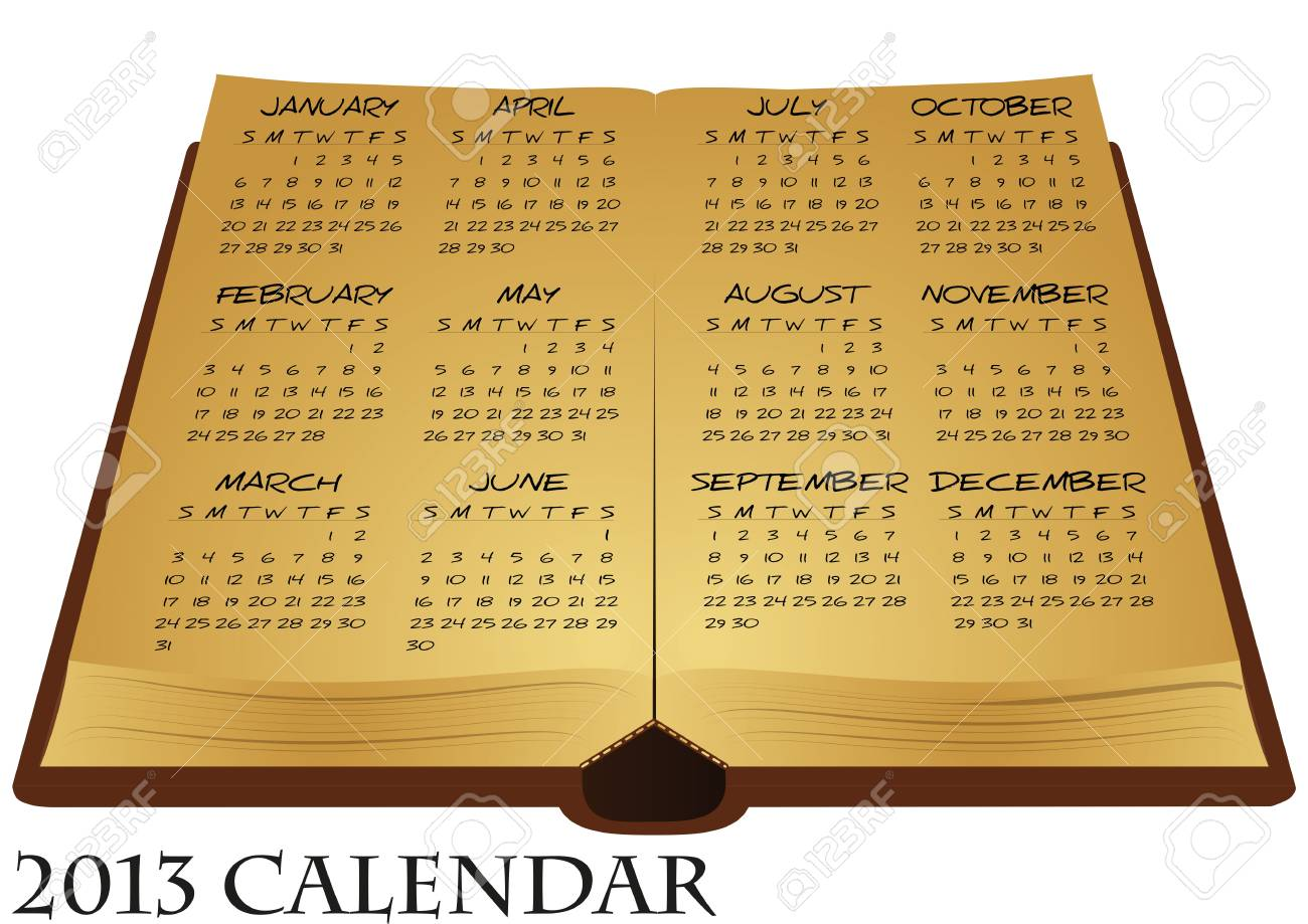 illustration of ancient book with calendar Stock Vector - 15983050