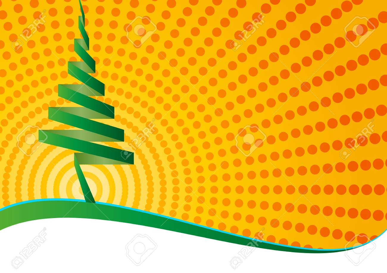 illustration of christmas tree on green paper Stock Vector - 15983059