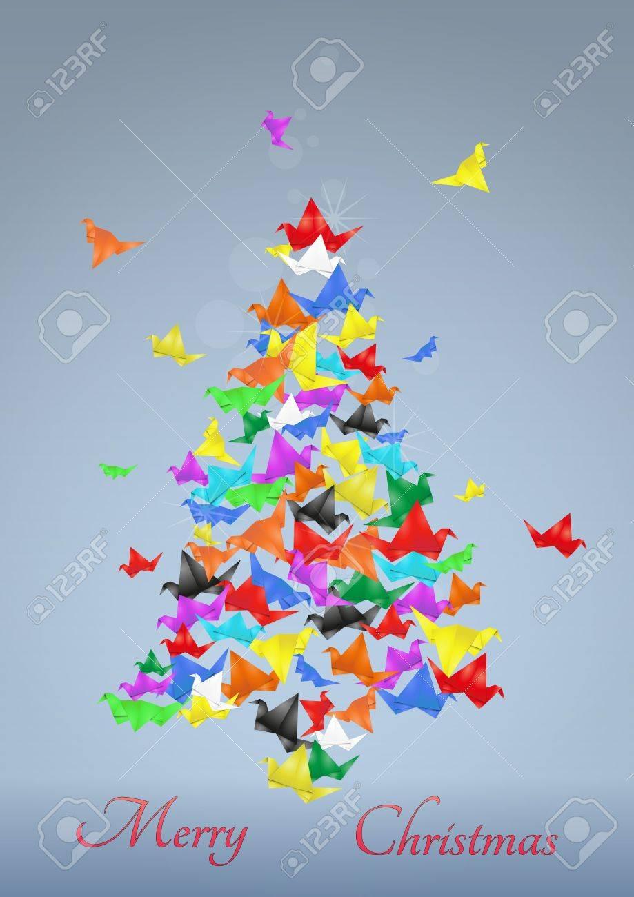Illustratio Of Christmas Tree Made Of Paper Birds Stock Vector   16459339