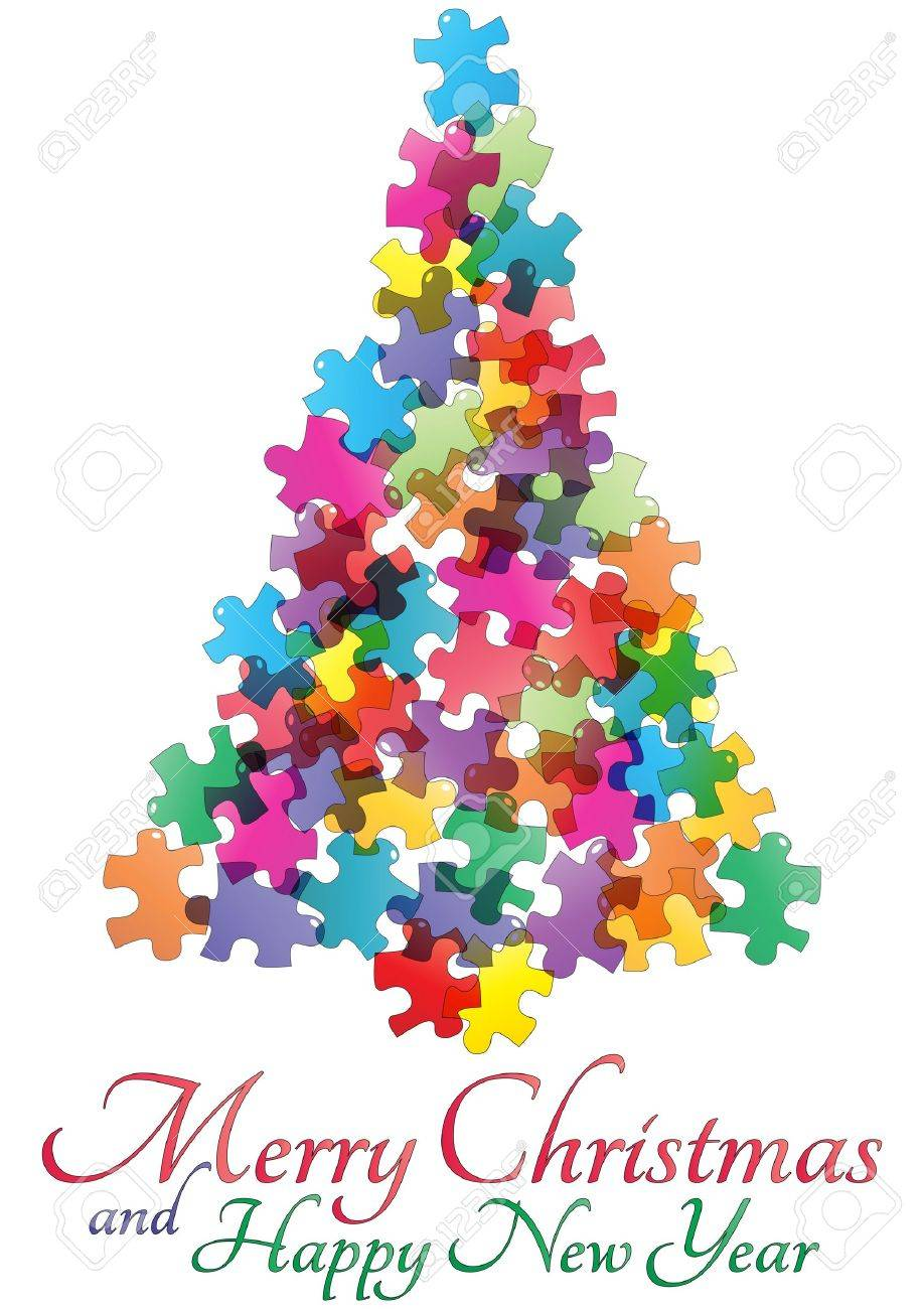 Illustration Of Christmas Tree Made Of Colorful Pieces Puzzle Stock Vector    16459336
