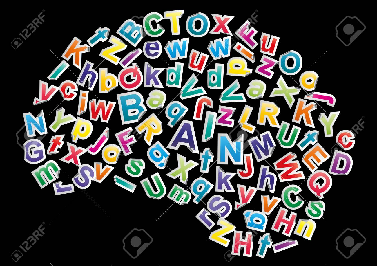 illustration of alphabet in the form of brain Stock Vector - 16521768