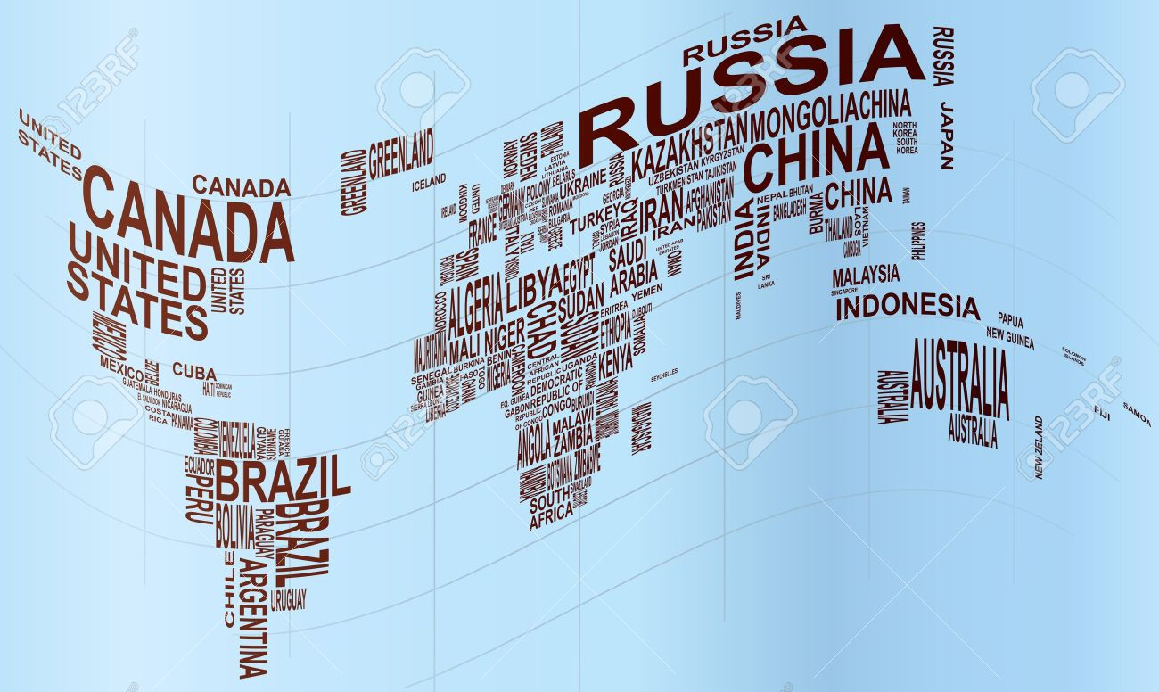 Illustration Of World Map With Country Name Royalty Free Cliparts - Word map with country name