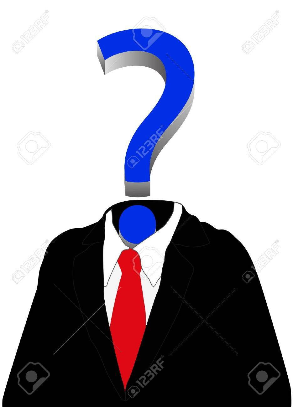 illustration of man with blue question mark Stock Vector - 17210850