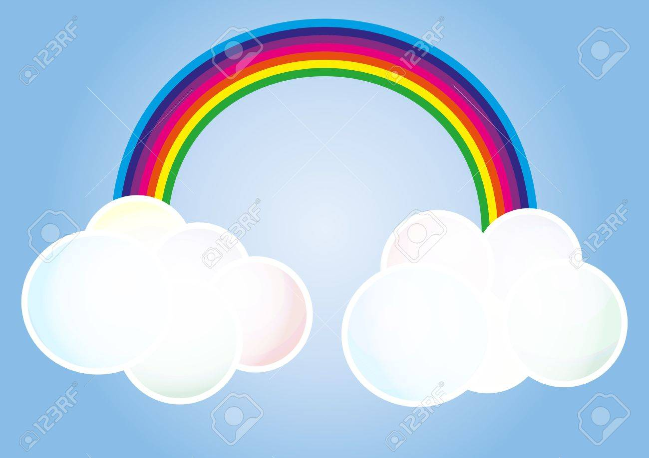 illustration of two clouds connected by a rainbow Stock Vector - 17405730