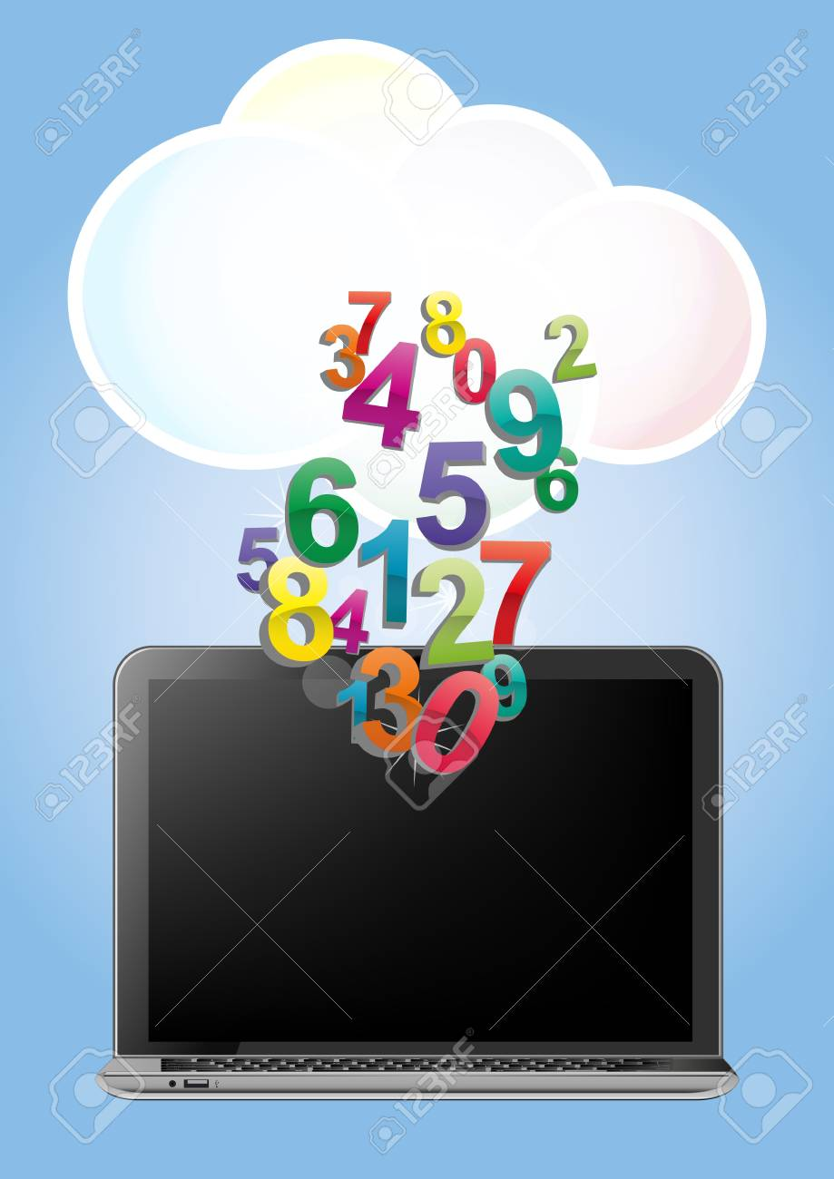 illustration of laptop with cloud and colorful numbers Stock Vector - 17613997