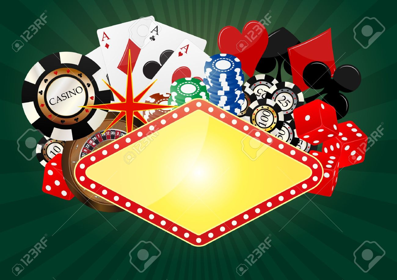Poker table background - Vector Illustration Of Blank Banner With Object Casino