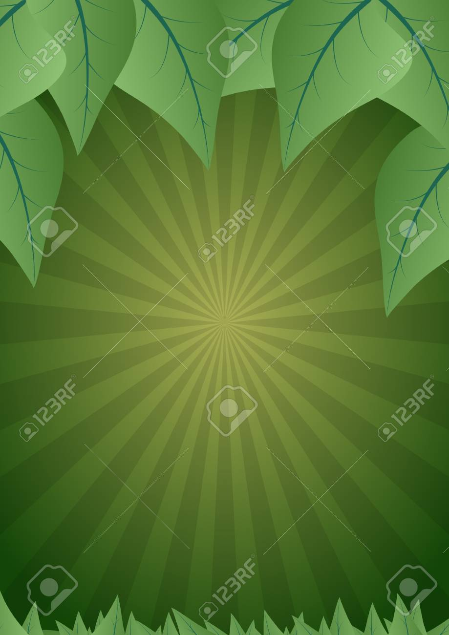 illustration of blank background with leaf and green sunburst Stock Vector - 19322454