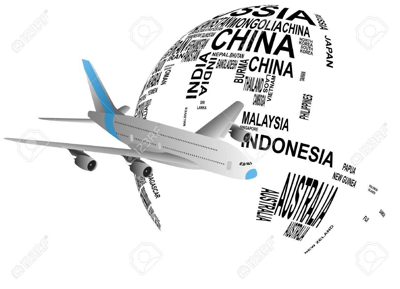 illustration of airplane around the world - 19322457