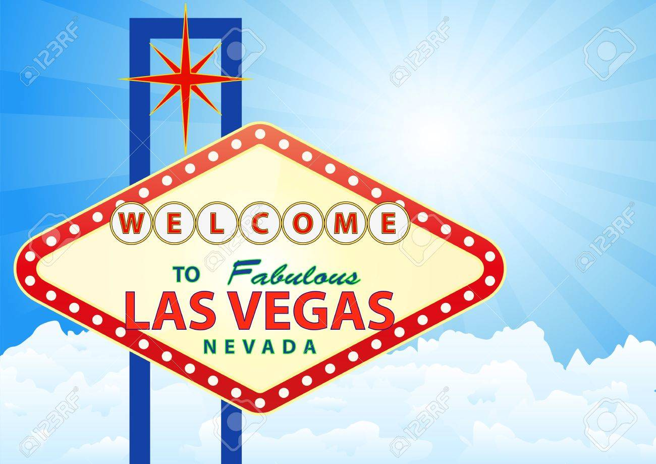 illustration of las vegas signal with cloud and sunburst in background Stock Vector - 19661630