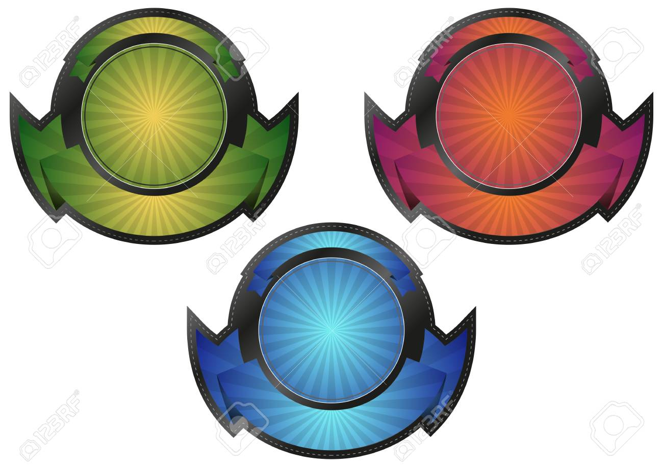 illustration set of blank sunburst badge Stock Vector - 19877203