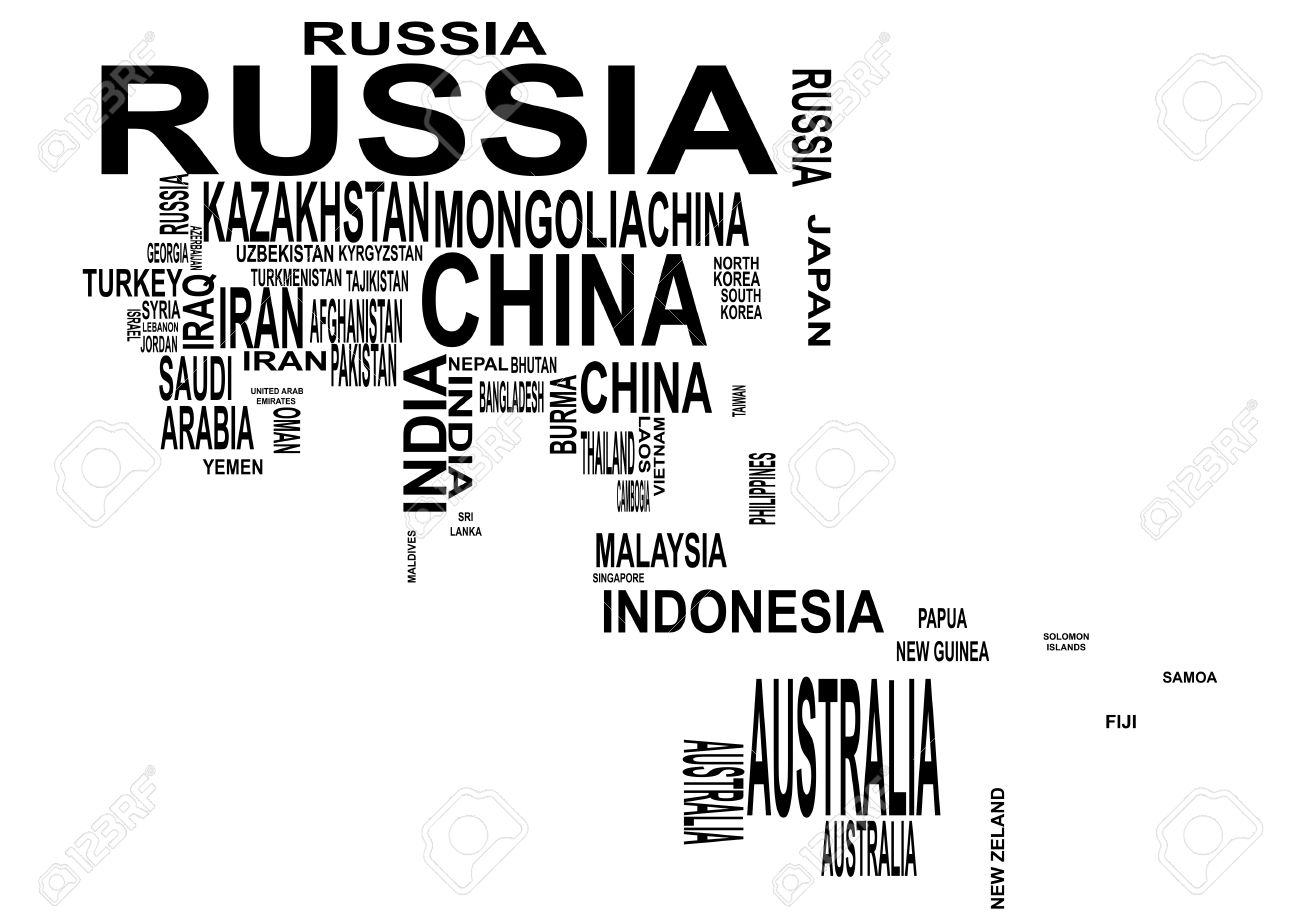Illustration Of Asia And Oceania Map With Country Name Royalty – Asia Map with Country Names