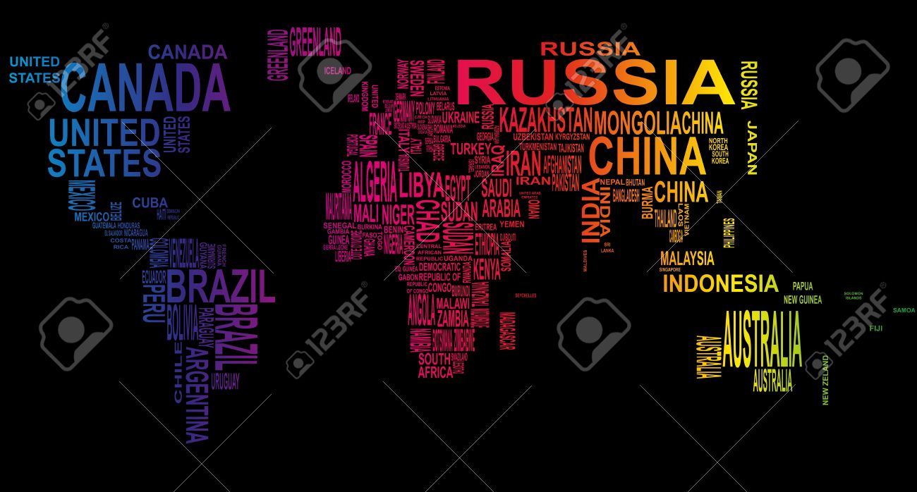 Illustration Of World Map With Country Name Royalty Free Cliparts