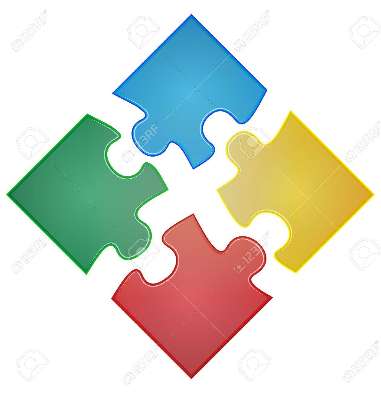 illustration of four pieces of color puzzle - 21637264