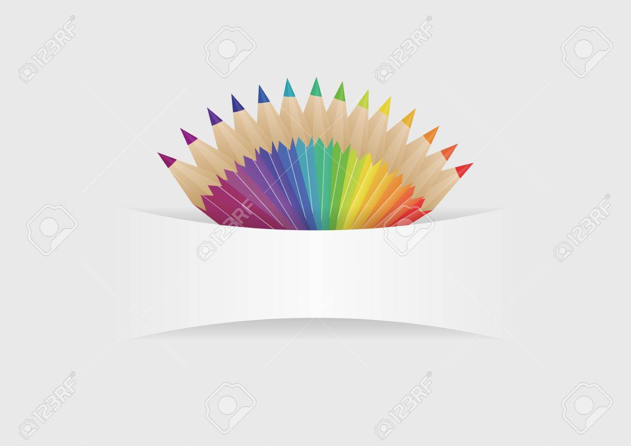 illustration of group of color pencils with blank space Stock Vector - 22015968