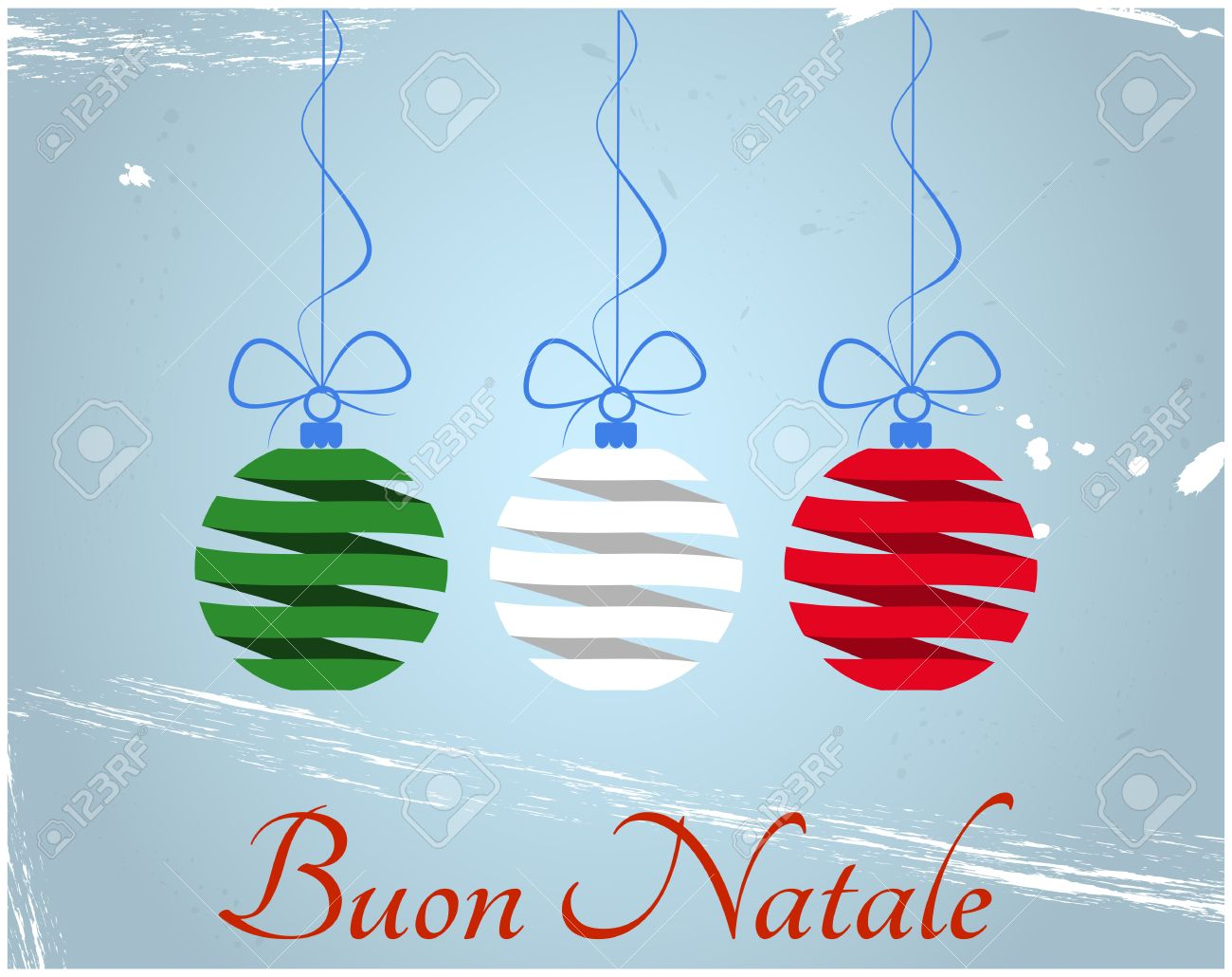 Illustration Of Christmas Balls With Merry Christmas In Italian ...