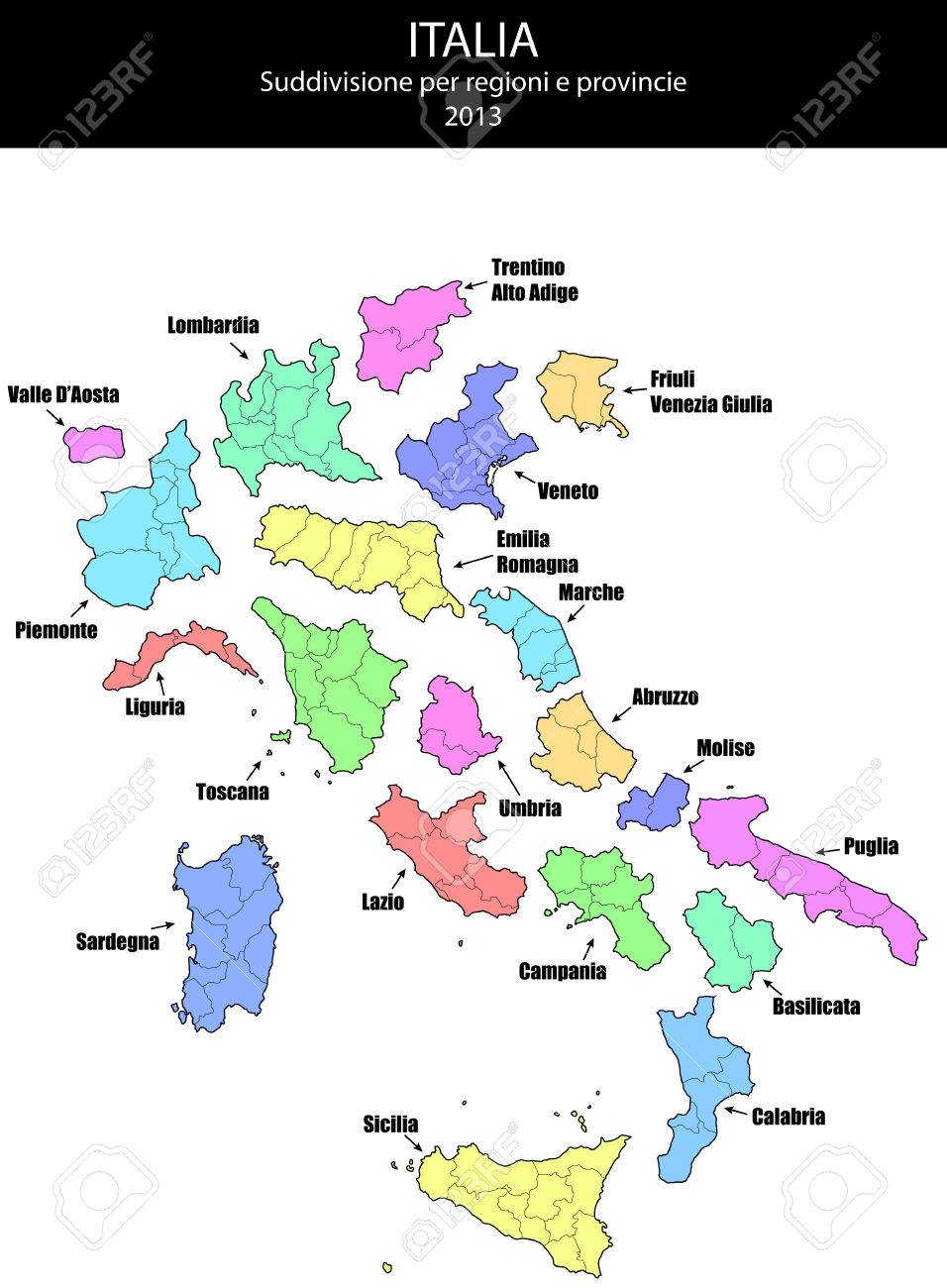 Illustration Of Italy Province And Region Maps Royalty Free Cliparts