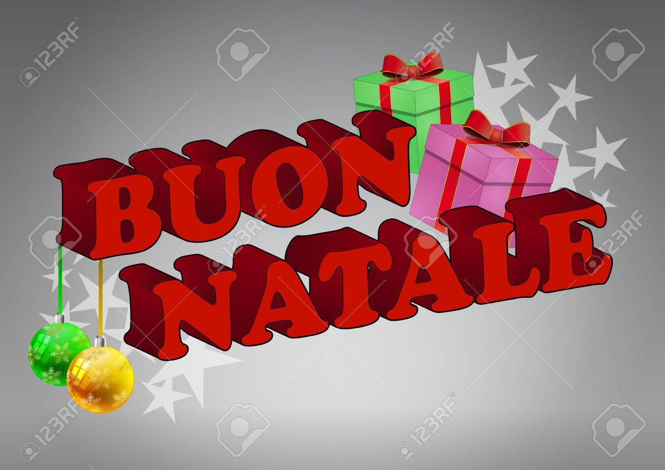 illustration of merry christmas italian text with balls and gift