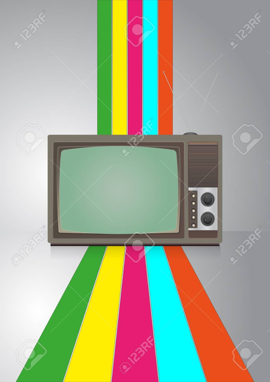 illustration of vintage television with color lines