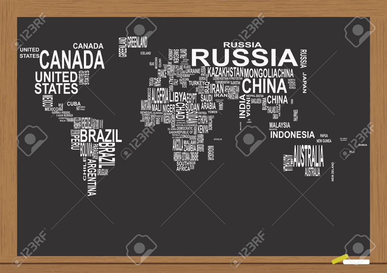 Illustration Of World Map With Country Name On Chalkboard Royalty