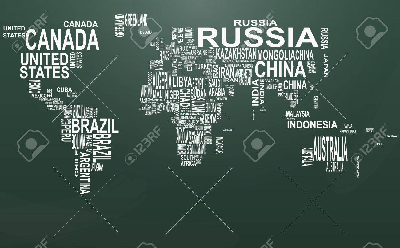 illustration of world map with country name on chalkboard stock vector 49829012