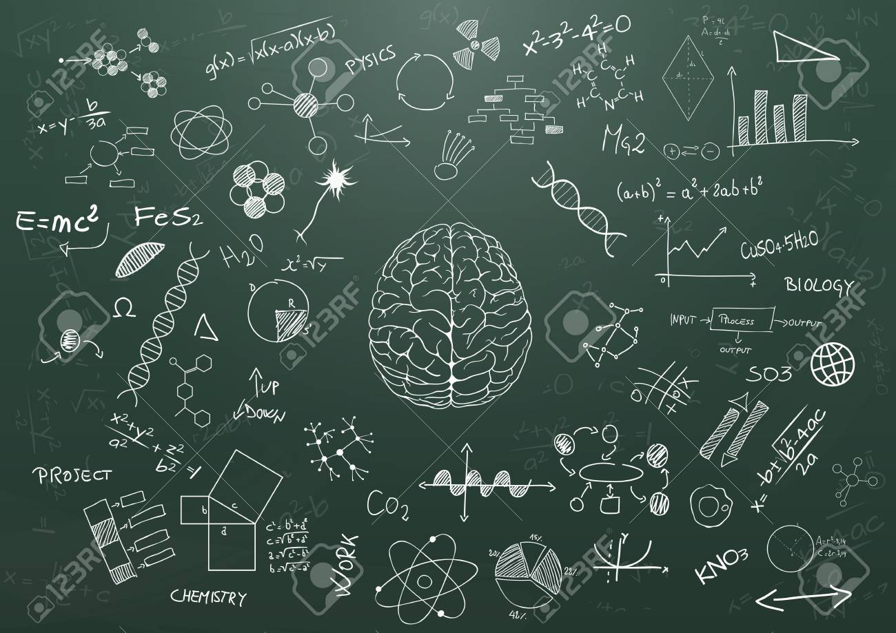 illustration of brain and science graphic on chalkboard royalty free