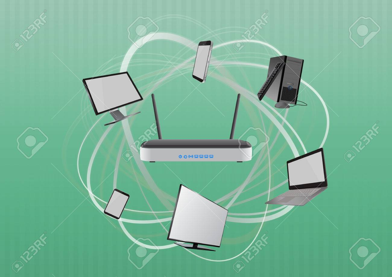 Illustration Of Modem Router Wireless With Devices Technology Diagram Stock Vector 56151781