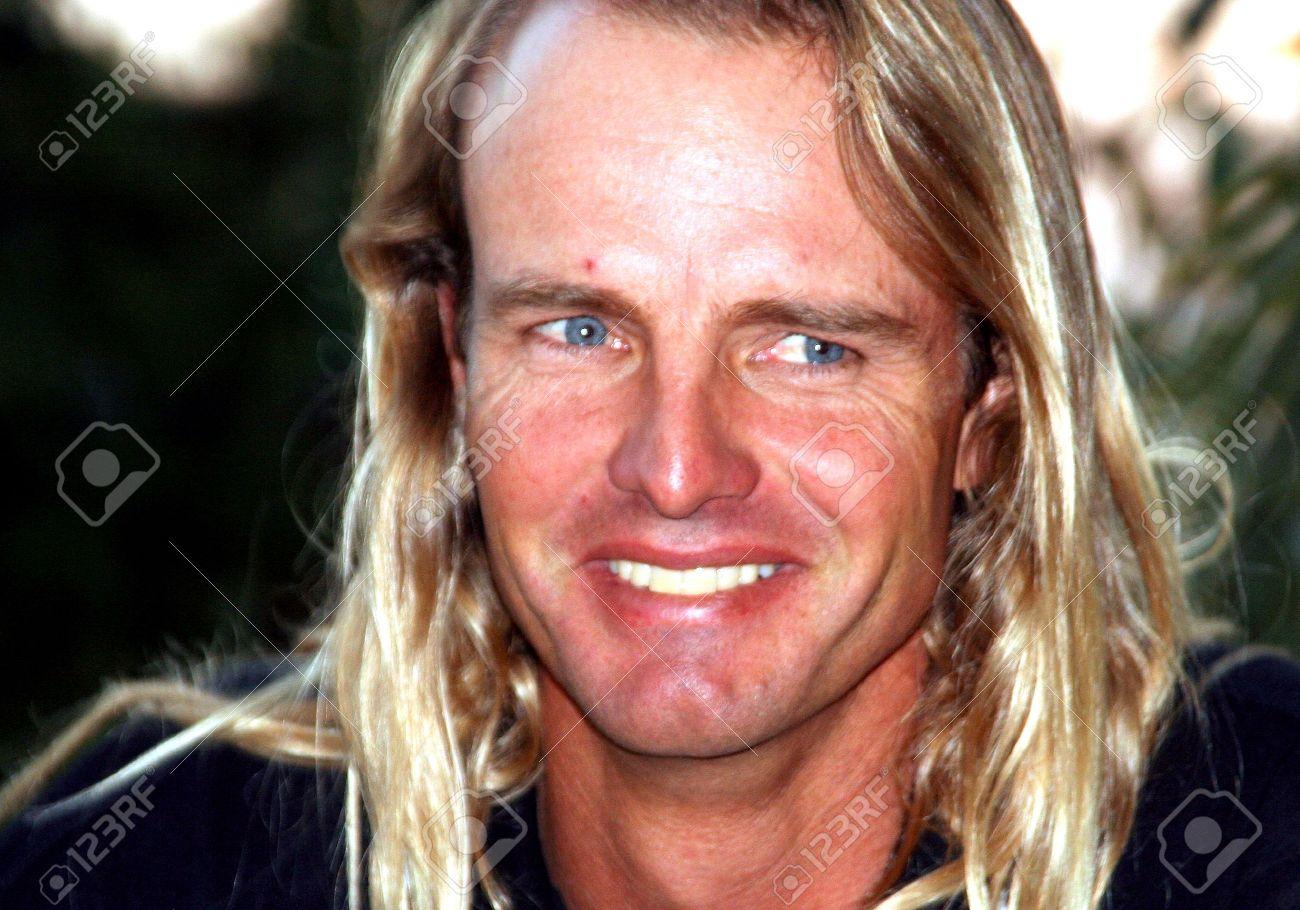 Porträt Einer Schöner Mann Mit Schönen Blauen Augen Und Blonden