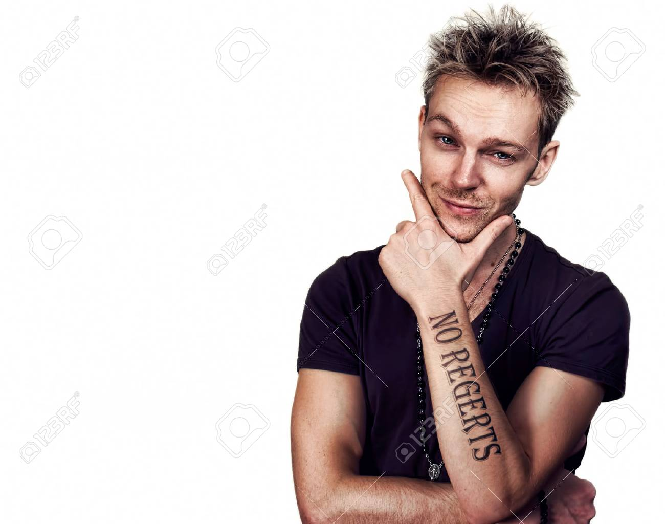 Man With No Regerts Tattoo Stock Photo Picture And Royalty Free Image Image 81285815