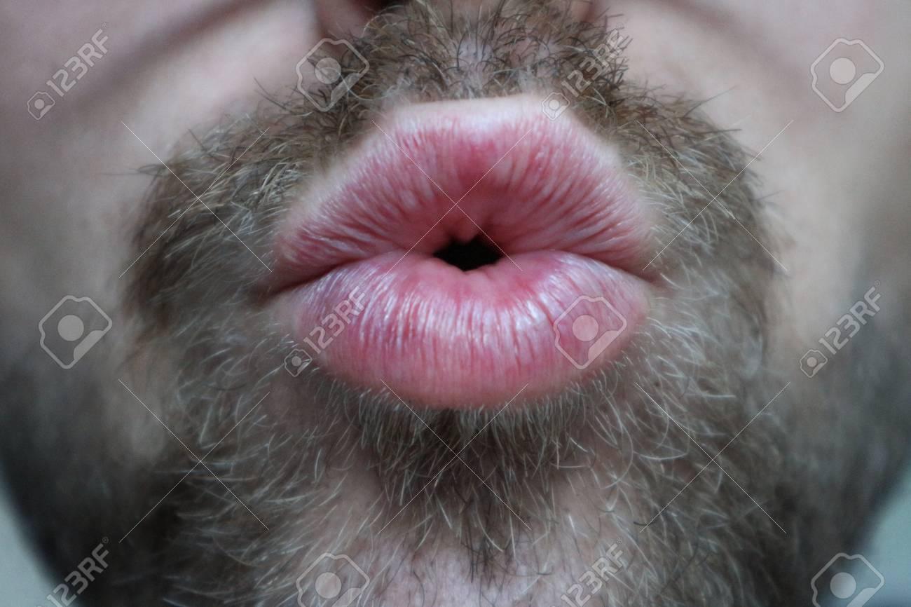 With facial Kissing hair guy a