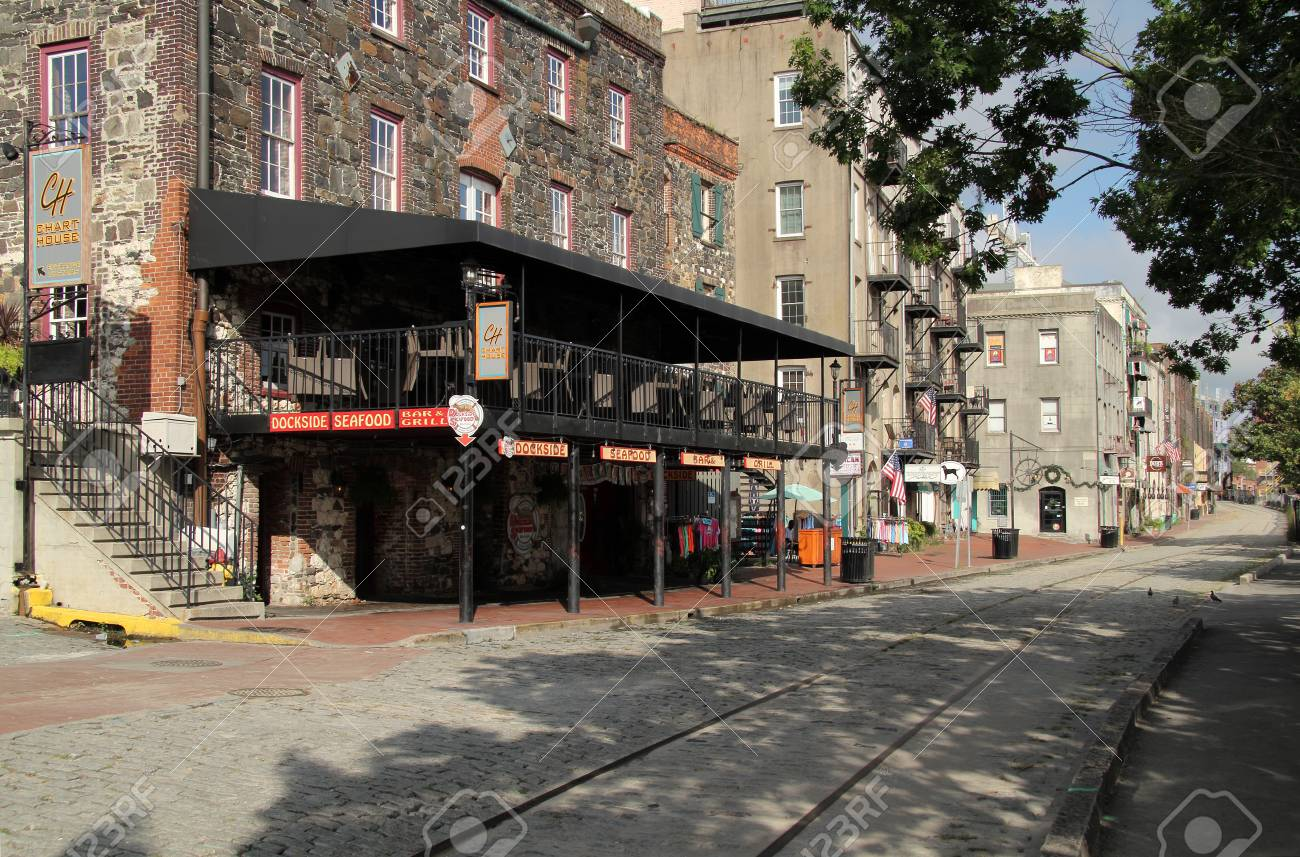 Savannah Ga July 25 River Street With Its Abundant Historic