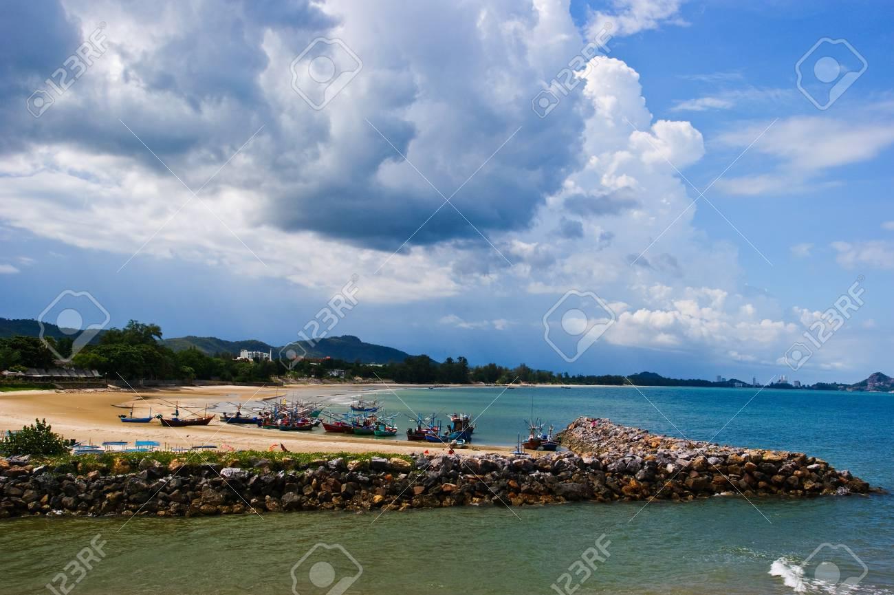 Fishing boats at cha-am beach in Thailand Stock Photo - 7388847
