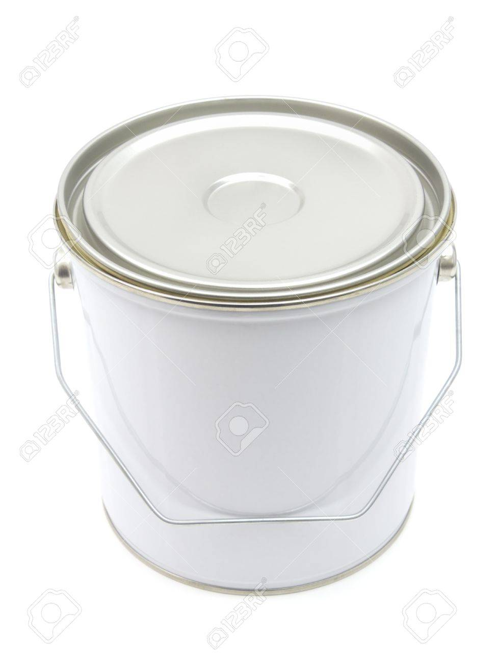 White paint can with handle isolated on a white background Stock Photo - 9830924