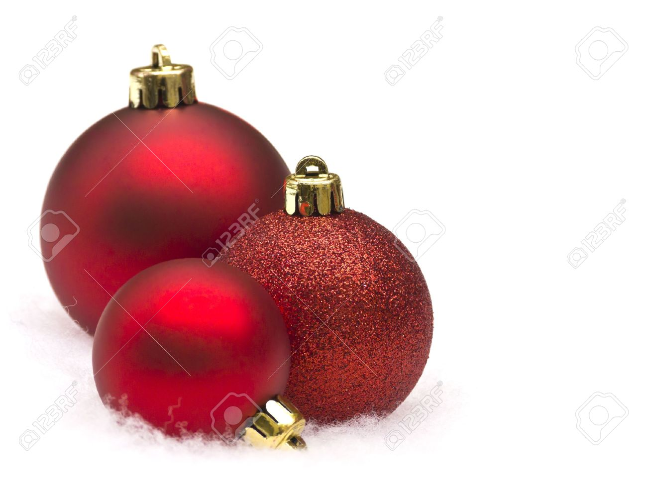 Red Christmas Balls On White Background Stock Photo, Picture And ...