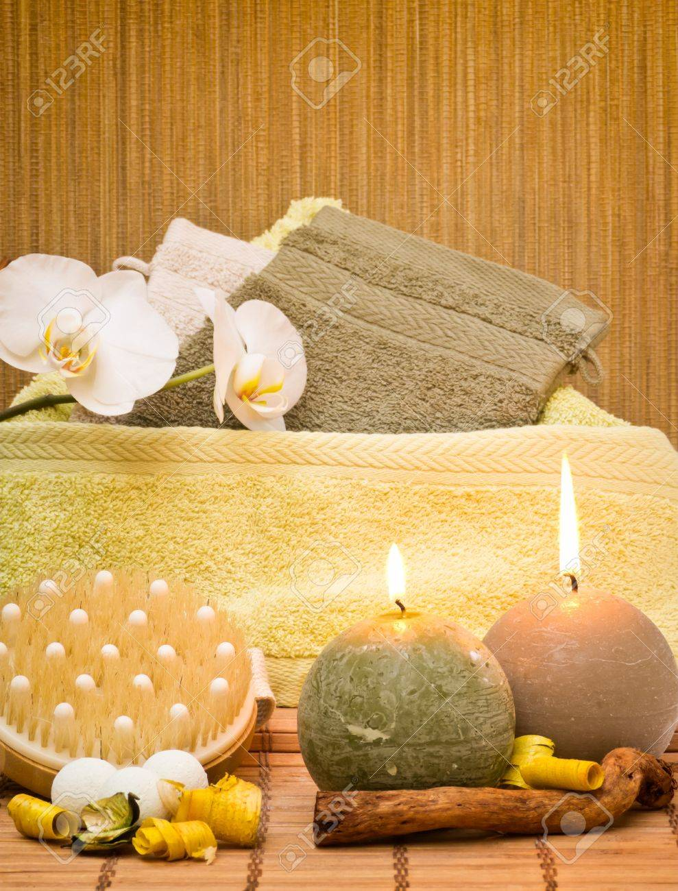 spa decoration from various objects with candles stock photo