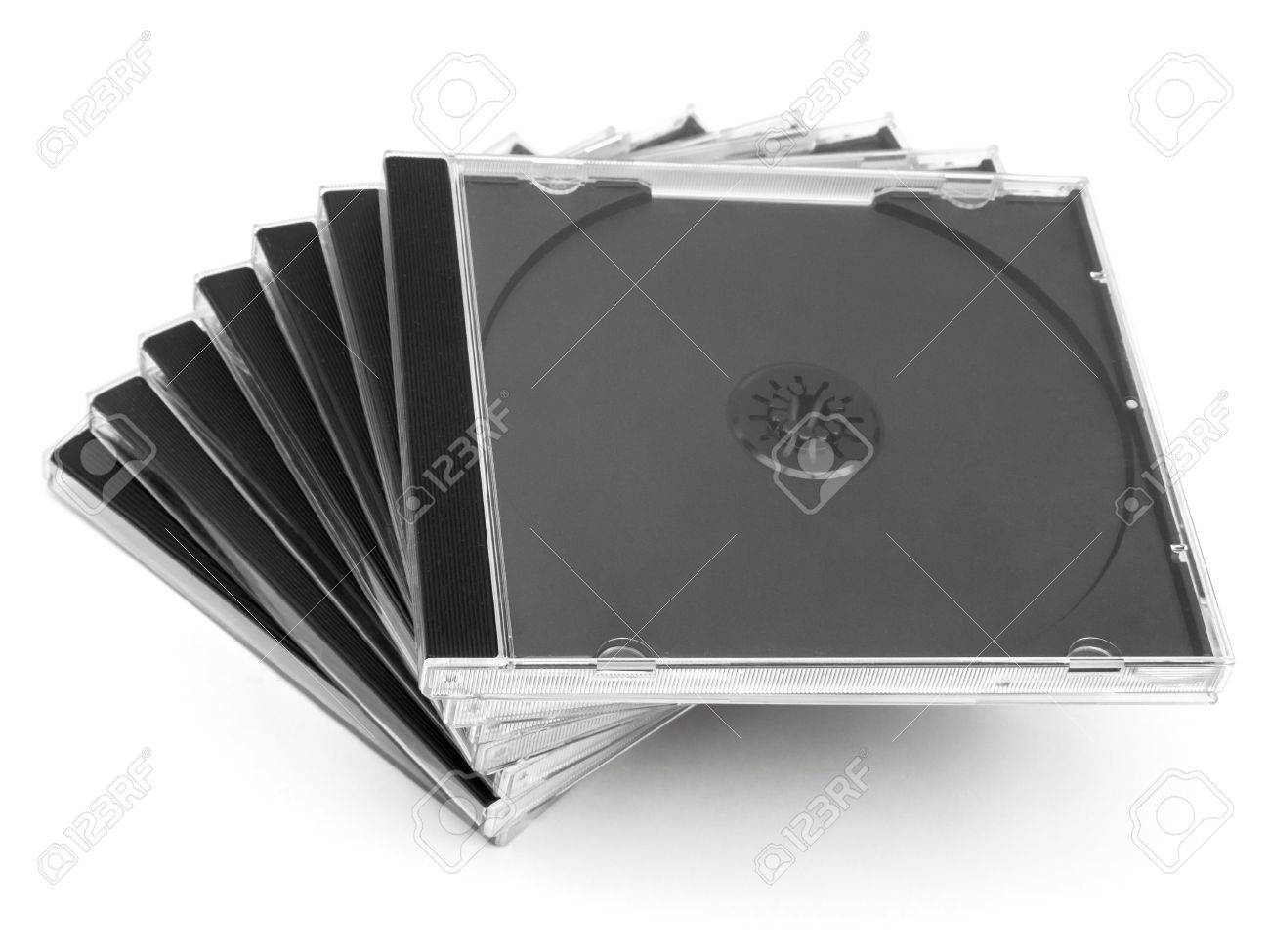 Empty cd cases stack on white Stock Photo - 16016051